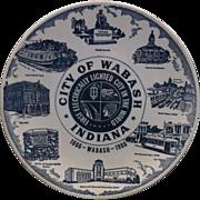 Kettlesprings Kiln City of Wabash Blue Transferware Plate