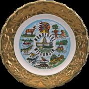 Wonderful Wisconsin State Souvenir Plate Gold Encrusted Embossed Rim