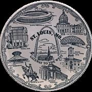 St Louis Missouri Gateway To The West Blue Transferware Souvenir Plate
