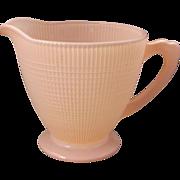 Jeannette Glass Pink Sprayed Homespun Variant Grid Creamer