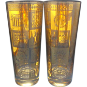 SALE Georges Briard Gold Decorated Highball Tumblers Pair Sun Harp