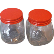 SOLD Red Metal Lid Clear Glass Small Jars Pair