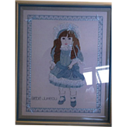 Bebe Jumeau Doll Blue Cross Stitch Picture Framed