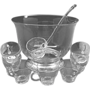 REDUCED Blown Clear Glass Punch Bowl Cups Ladle Silver Foot