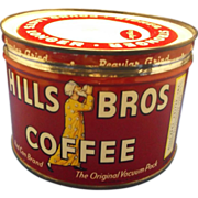 Hills Bros Coffee Tin Red Regular Grind 1 Lb Key Wind