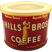 Hills Bros Coffee Half Pound Tin 1952 Regular Grind