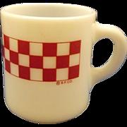 Ralston Purina Red Check Plaid Milk Glass Mug Hazel Atlas