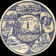 SOLD Stephen Foster Memorial Blue Transferware Small Souvenir Plate