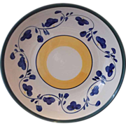Hand Painted Pasta Serving Bowl Blue Yellow Green