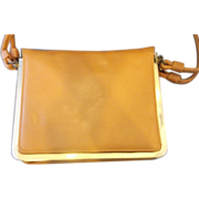 Markay Bags Pumpkin Orange Tan Structured Flat Purse