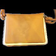 SALE Markay Bags Pumpkin Orange Tan Structured Flat Purse