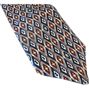 JRR Diamond Pattern Navy Burgundy Silk Tie