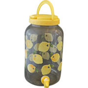 Lemon Pattern Sun Tea Beverage Dispenser Glass
