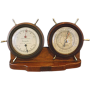 Airguide Nautical Ship's Wheel Weather Station Barometer Hygrometer
