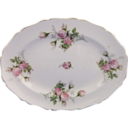Canonsburg Moss Rose Oval Platter Gold Trim