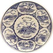 Mt Evans Colorado Crest House Blue Transferware Souvenir Plate