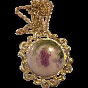 Hand Painted Porcelain Tile Necklace Grapes Purple