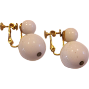 Marvella White Ball Drop Screwback Earrings