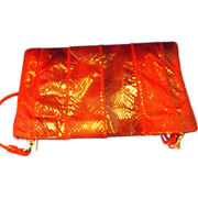 REDUCED Clemente Red Cobra Snakeskin Clutch Convertible Purse