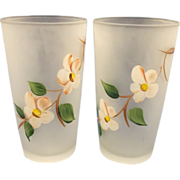 SOLD Gay Fad Hazel Atlas Peach Blossom Satin Tumblers