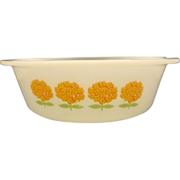 SALE Glasbake Orange Flowers White Glass Round Casserole