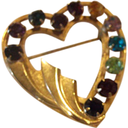 Van Dell Heart Shaped Rhinestone Pin 1/20 12 Kt Gold Filled #2