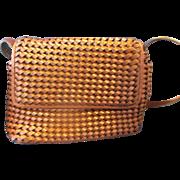 SALE Nine West Braided Woven Brown Leather Shoulder Bag
