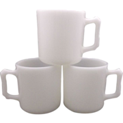 Hazel Atlas White Platonite Kiddie Mugs Blanks
