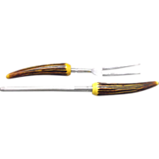 SALE Bakelite Horn Handle Carving Fork & Sharpening Steel