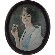 SALE Drink Coca-Cola Young Lady Oval Tray