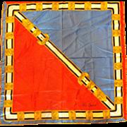 Oleg Cassini Blue Red White Gold Belt Scarf