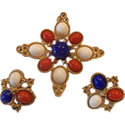 Sarah Coventry Americana Red White Blue Gold Tone Pin Earrings Set