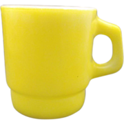 Anchor Hocking Butter Yellow Mug Milk Glass Stacking