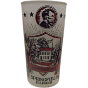 SOLD Lincoln Home Frosted Glass Souvenir Tumbler