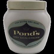 SALE Pond's Dry Skin Cream Milk Glass Jar Still Full