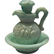 REDUCED Avon Jade Green Slag Marble Glass Roses Pitcher Bowl