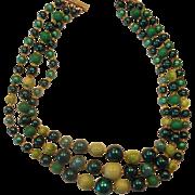 SALE Kelly Green Triple Strand Necklace Japan Faux Pearls