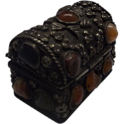 Trunk Shaped Trinket Box Silver Semi-Precious Stones Asian