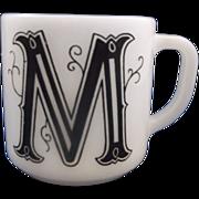 SALE M Initial Monogram Milk Glass Mug Federal