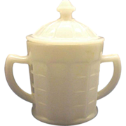 SOLD Colonial Block White Sugar Bowl With Lid Hazel Atlas Glass