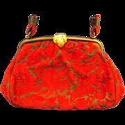 Red Black Floral Cut Velvet Chenille Carpet Bag Purse