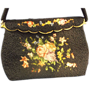 SOLD Hong Kong Black Seed Bead Floral Petit Point Tapestry Purse - Red Tag Sale Item