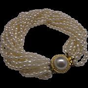 10 Strand Freshwater Pearl Bracelet Box Clasp