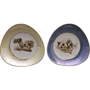 Hunting Dog Blue & Yellow Lustre Band Triangle Porcelain Dishes
