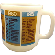 SALE Glasbake Calendar Important Dates Mug 1977-1981