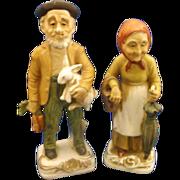 Farmer Couple Man Woman Figurines Porcelain Hand Painted House of David