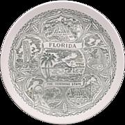 SOLD Florida Souvenir Plate Green Transferware Pre-Disney