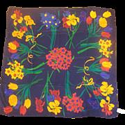 Liz Claiborne Jewel Toned Tropical Floral Silk Scarf