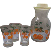 Federal Glass Orange Juice Carafe Tumblers Set
