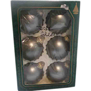 SALE Krebs Christmas Ornaments Blown Glass Matte Green
